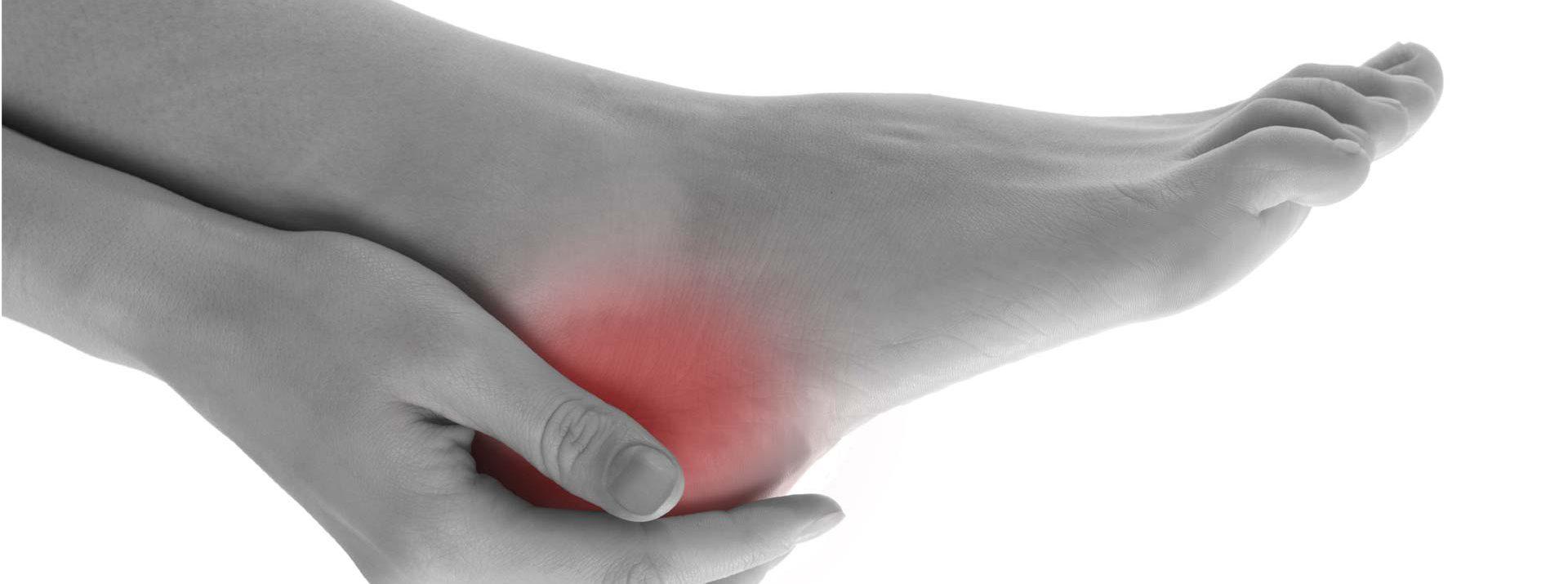 podiatrist hand holding painful heel